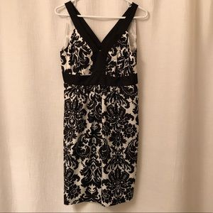Loft black and ivory summer dress. Size 4P. NWT